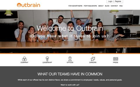 Screenshot of Jobs Page outbrain.com - Join Outbrain's Family | Open Positions | Outbrain.com - captured May 1, 2018