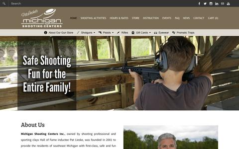 Screenshot of Home Page mishoot.com - Michigan Shooting Centers - Island Lake and Bald Mountain Shooting Ranges - Home - captured Feb. 13, 2016