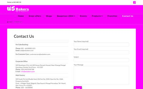 Screenshot of Contact Page wsbakers.com - Contact Us - WS Bakers - captured Nov. 2, 2014