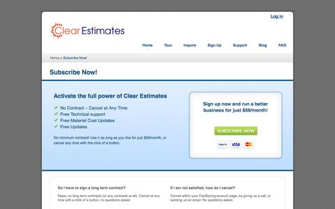 Screenshot of Signup Page clearestimates.com - Subscribe to our construction estimating software | Clear Estimates, Inc. - captured Oct. 2, 2014