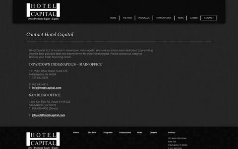Screenshot of Contact Page hotelcapital.com - Hotel Capital :: Debt | Preferred Equity | Equity - captured Aug. 29, 2017