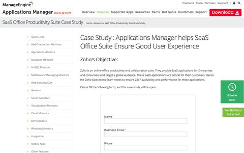 Case Study : Applications Manager helps SaaS Office Suite Ensure Good User Experience