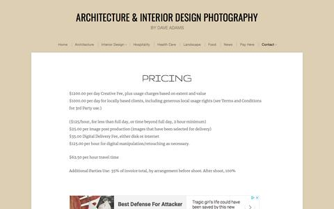 Screenshot of Pricing Page daveadamsphotography.com - Pricing | Architecture & Interior Design Photography - captured Aug. 5, 2018