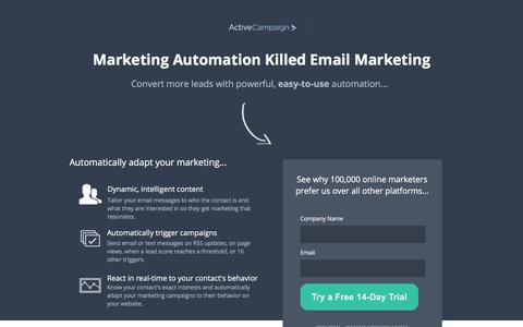 Screenshot of Landing Page activecampaign.com - Email Marketing From ActiveCampaign - captured June 26, 2017