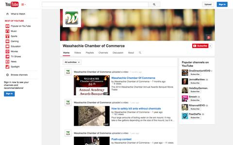 Screenshot of YouTube Page youtube.com - Waxahachie Chamber of Commerce  - YouTube - captured Oct. 25, 2014