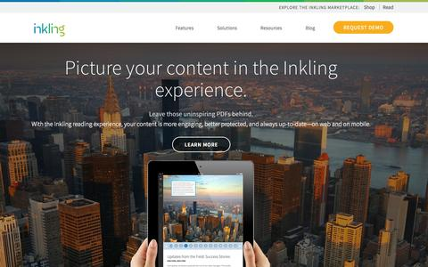 Screenshot of Home Page inkling.com - Create and manage digital content   Inkling - captured Sept. 16, 2014