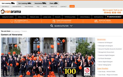 Screenshot of Jobs Page vanarama.com - Careers and Vacancies | Vanarama - captured July 25, 2019