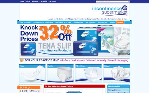 Screenshot of Home Page incontinencesupermarket.co.uk - Best range of Incontinence products at value prices - captured Oct. 6, 2014