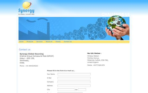 Screenshot of Contact Page synergyglobal.in - Synergy Global Sourcing Bangalore-India - captured Oct. 6, 2014