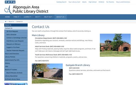 Screenshot of About Page aapld.org - Contact Us – Algonquin Area Public Library - captured Feb. 5, 2016