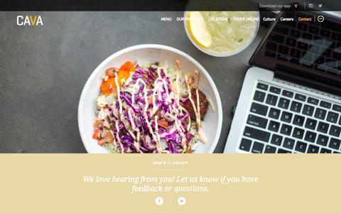 Screenshot of Contact Page cavagrill.com - Contact | Cava Grill - captured Nov. 4, 2015