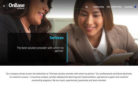 Screenshot of Services Page onbase.com - Hyland Software Professional Services | OnBase Training | AU - captured Sept. 25, 2018