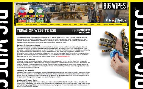 Screenshot of Terms Page bigwipes.com - Big Wipes | Terms of use - captured Oct. 5, 2014