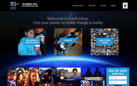Screenshot of Home Page earthhour.org - EARTH HOUR - captured Sept. 19, 2014