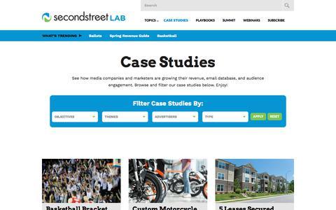Screenshot of Case Studies Page secondstreet.com - Case Studies | Second Street Lab - captured Jan. 27, 2018