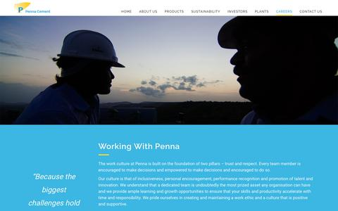 Screenshot of Jobs Page pennacement.com - Penna Cement | Careers - Penna Cement the Leader in Pozzolana Cement Manufacturing - captured Sept. 27, 2018