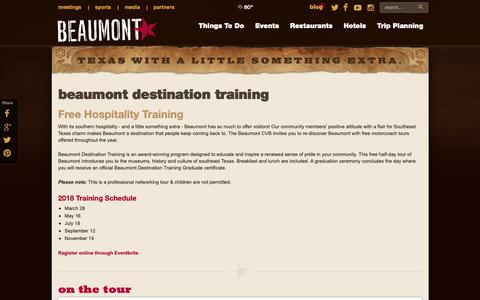 Screenshot of Signup Page beaumontcvb.com - Beaumont CVB Destination Training | Events in Beaumont, Texas - captured Oct. 5, 2018