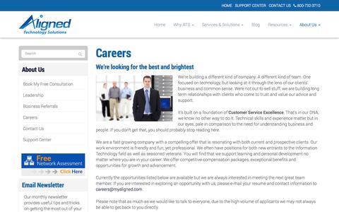 Screenshot of Jobs Page alignedtechnologysolutions.com - Careers - Alexandria, Arlington, Tyson's Corner | Aligned Technology Solutions, LLC - captured Oct. 4, 2014
