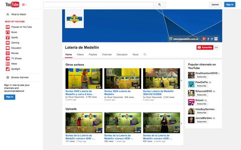 Screenshot of YouTube Page youtube.com - Loteria de Medellin  - YouTube - captured Oct. 23, 2014