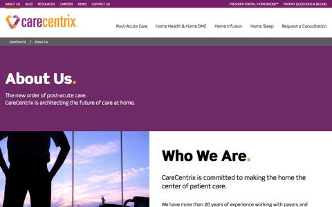 Screenshot of About Page carecentrix.com - Improving Outcomes & Reducing Spend for Health Plans   CareCentrix - captured July 12, 2018