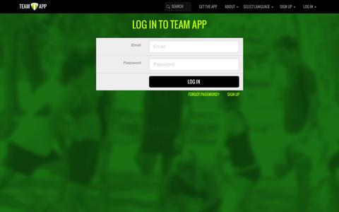 Screenshot of Login Page teamapp.com - Log in to Team App - captured Feb. 12, 2016