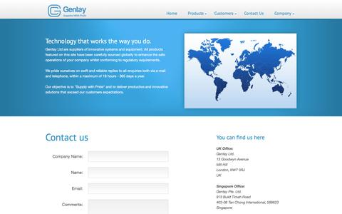 Screenshot of Contact Page gentay.co.uk - Gentay - Innovative Enterprise Products and Systems - captured Jan. 27, 2016