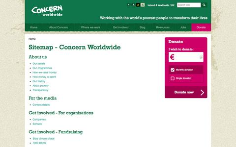Screenshot of Site Map Page concern.net - Sitemap - Concern Worldwide  | Concern Worldwide - captured Sept. 23, 2014