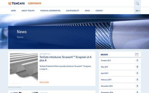 Screenshot of Press Page tencate.com - News - TenCate Corporate - captured Jan. 19, 2018