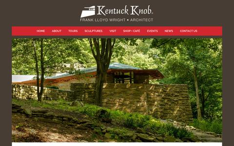 Screenshot of Home Page kentuckknob.com - Kentuck Knob | Designed by Frank Lloyd Wright for I.N. + Bernadine Hagan - captured Sept. 11, 2015