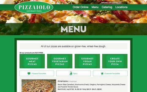 Screenshot of Menu Page pizzaiolo.ca - Pizzaiolo Gourmet Pizza : Menu - captured Sept. 30, 2014