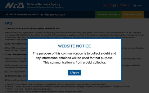 Screenshot of FAQ Page nationalrecovery.com - FAQ | NRA – National Recovery Agency - captured Oct. 20, 2018