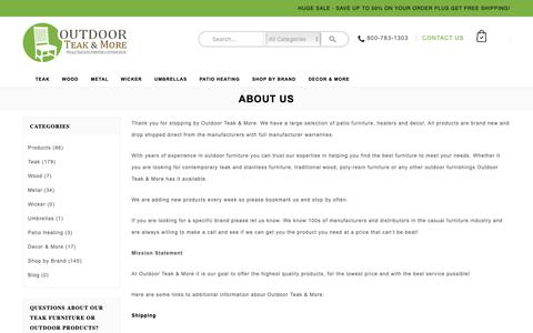 Screenshot of About Page outdoorteakandmore.com - About Us - Outdoor Teak & More - captured Oct. 18, 2018