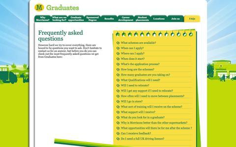Screenshot of FAQ Page morrisonsgraduates.com - FAQs - Morrisons Graduates - captured Oct. 26, 2014
