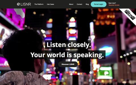 Screenshot of Home Page lisnr.com - Home - LISNR - captured Sept. 22, 2015