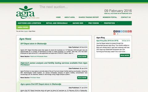 Screenshot of Press Page agra.com.na - Agra News | AGRA - captured Feb. 5, 2016