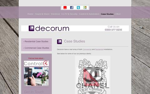Screenshot of Case Studies Page decorum-technology.co.uk - Audio Visual Installers | Leicestershire, Lancashire & Cambridgeshire | Decorum Technology | Case Studies - captured June 4, 2017