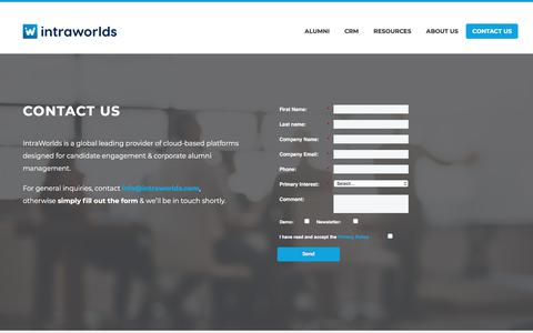Screenshot of Contact Page intraworlds.com - Contact IntraWorlds to learn more about our solutions - captured Oct. 13, 2019