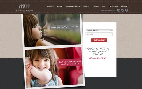Screenshot of Home Page mancuso-nowak.com - Massachusetts Insurance Services | Mancuso-Nowak Insurance Agency - captured Oct. 3, 2014