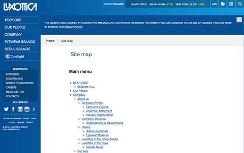 Screenshot of Site Map Page luxottica.com - Site map | Luxottica - captured Sept. 18, 2014