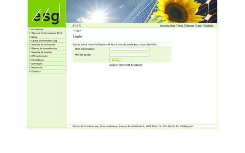 Screenshot of Login Page esg.ch - Centre de formation esg, Ecole supérieure, Prilly :: Login - captured Oct. 3, 2014