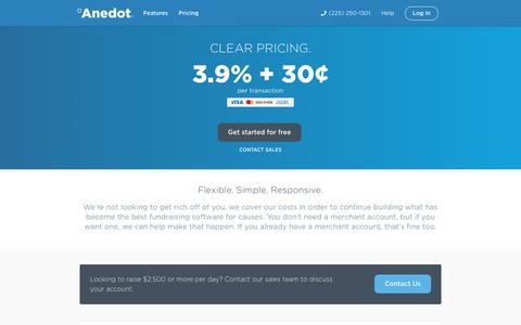 Screenshot of Pricing Page anedot.com - Better fundraising. | Anedot - captured July 3, 2016