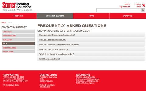 Screenshot of FAQ Page stonermolding.com - FAQs - captured Oct. 23, 2017
