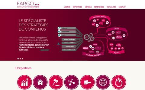 Screenshot of Home Page agencefargo.com - Agence Fargo | Agence de relation Media, Editorial, Web et E-Influence - captured Sept. 30, 2014