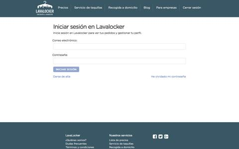 Screenshot of Login Page lavalocker.es - - Lavalocker - captured May 15, 2017