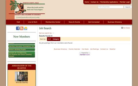 Screenshot of Jobs Page crockettareachamber.org - Job Search - Crockett Area Chamber of Commerce - captured June 16, 2016