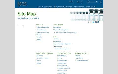 Screenshot of Site Map Page geron.com - Geron: Site Map - captured July 19, 2014