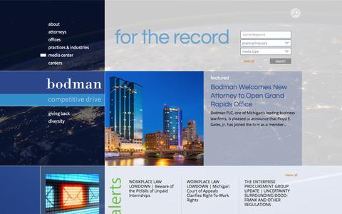 Screenshot of Press Page bodmanlaw.com - Media Center | Bodman - captured May 28, 2017