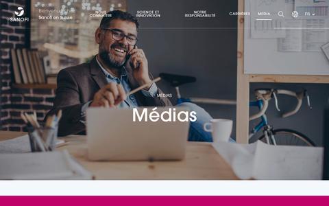 Screenshot of Press Page sanofi.ch - Médias - Sanofi Suisse - captured Oct. 29, 2018