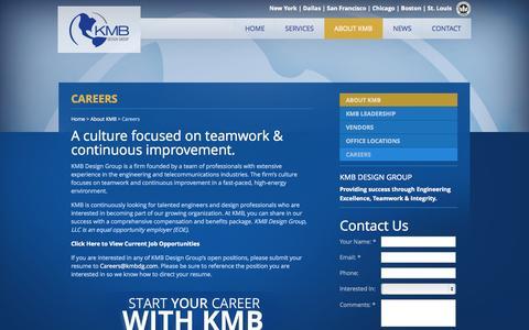 Screenshot of Jobs Page kmbdg.com - Find Your Career at KMB Design Group : KMB Design Group - captured Oct. 8, 2014