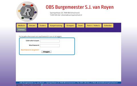 Screenshot of Login Page vanroyenschool.nl - OBS Burg. S.J. van Royen » Contact » Login - captured March 3, 2018